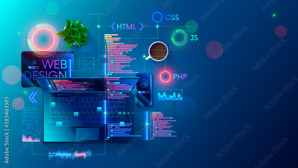 Fototapeta Web development, coding and programming responsive layout internet site or app of devices. Creation digital Software mobile, desktop platforms. Computer code on laptop, tablet, phone. Concept banner.