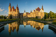 canvas print picture - Castle in Moszna in the rays of the rising sun, near Opole, Silesia, Poland.