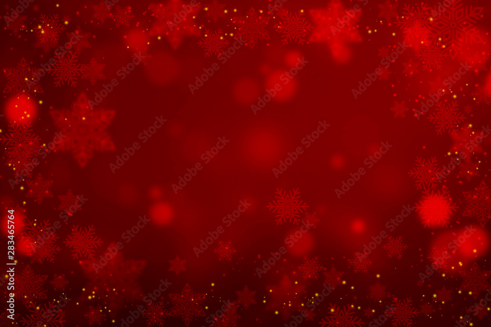 Fototapeta Abstract Christmas Snowflakes On Red Background