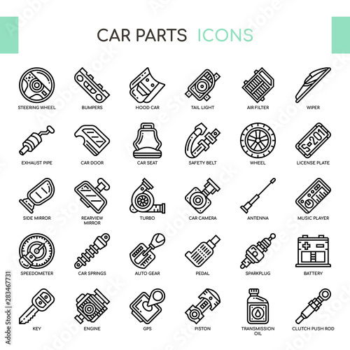 Fotomural  Car Parts , Thin Line and Pixel Perfect Icons
