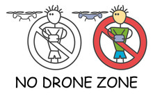Funny Vector Stick Man With A Drone In Children's Style. No Quadcopter No Drone Zone Sign Red Prohibition. Stop Symbol. Prohibition Icon Sticker For Area Places. Isolated On White Background.
