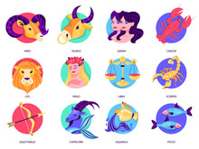Zodiac Sign Set. Collection Of...