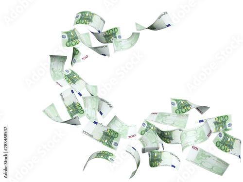 Flying banknotes of euro Wallpaper Mural