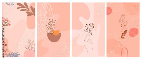 Zestaw streszczenie tło pionowe z jesiennych elementów, kształtów, roślin i ludzkich rąk w jednym stylu linii. Tło minimalistycznego stylu strony aplikacji mobilnej. Ilustracji wektorowych