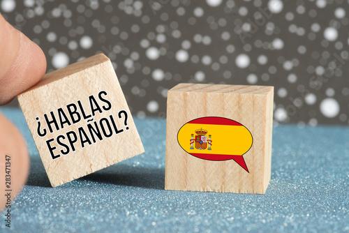 Flagge von Spanien und Frage Sprechen Sie spanisch