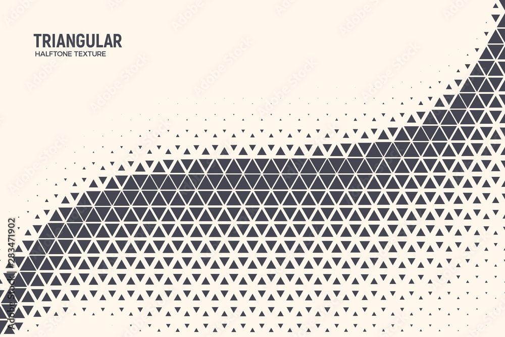 Fototapeta Triangle Shapes Vector Abstract Geometric Technology Oscillation Wave Isolated on Light Background. Halftone Triangular Retro Simple Pattern. Minimal 80s Style Dynamic Tech Wallpaper