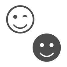 Smile Faces Icon Isolated, Vector