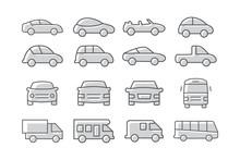 Car Icons Set On White Background