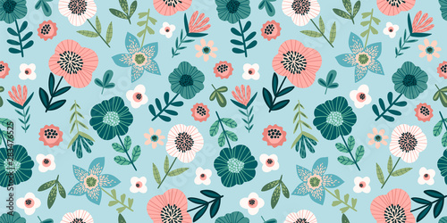 Ingelijste posters Kunstmatig Floral seamless pattern. Vector design for paper, cover, fabric, interior decor