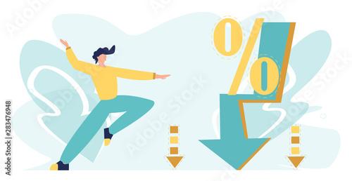 Fotografía  Big sale vector illustration with character