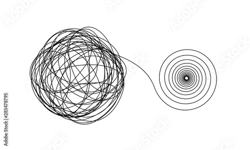 Fotografía  Accurate spiral flow from chaotic ravel of thin black lines on white
