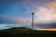 Wind Turbines Farm At Sunrise, Oiz Mountain, Basque Country, Spain