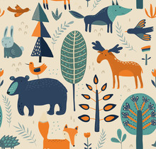 Vector Seamless Pattern With Hand Drawn Forest Animals, Trees, Flowers And Plants