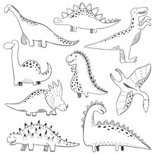 Vector Collection Of Hand Drawn Dinosaurs. Perfect For Kids Print