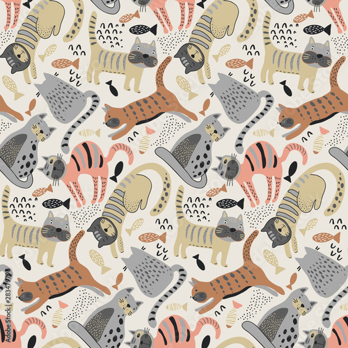 plakat Vector seamless pattern with cute cats in simple flat style.