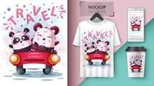 Cute Bear And Panda Unicorn Poster And Merchandising