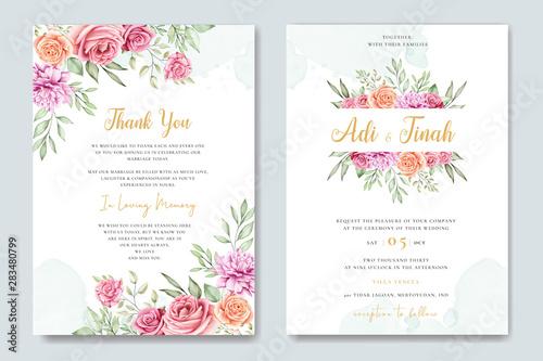 Fototapeta wedding invitation card with beautiful flower background obraz na płótnie