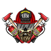 Hand Drawn Color Sketch, Fireman Skull With Helmet, Glasses, Beard And Mustaches, Fire Extinguisher And Axe. Poster, Flyer Design