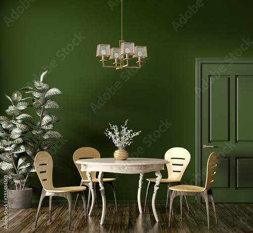 Fotografía  Interior of modern dining room 3d rendering