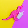 Leinwandbild Motiv Dinosaur and soda. Minimal flat lay art