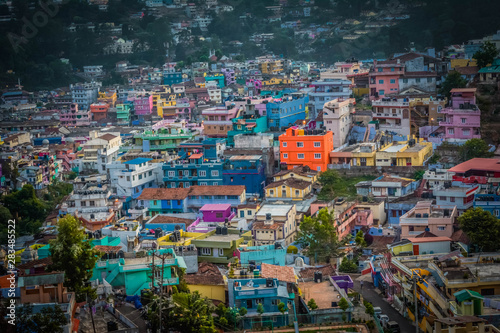 Colourful houses in a village near Ooty at Evening Wallpaper Mural