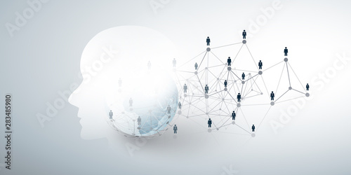 Obraz Modern Style Futuristic Machine Learning, Artificial Intelligence, Cloud Computing and Business Networks Design Concept with Connected People, Network Mesh - fototapety do salonu