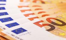 Closeup Macro Fifty Euros Bankontes Background