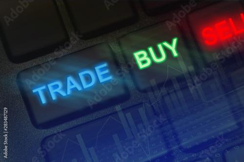 Fotografía  closeup macro buttons with text Trade, Buy, Sell