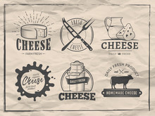 Vector Cheese Logos. Set Of Ba...