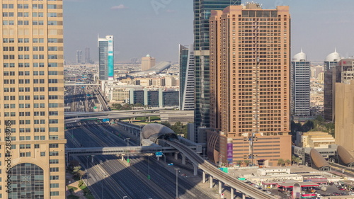 Fototapety, obrazy: Skyline internet city with crossing Sheikh Zayed Road aerial timelapse