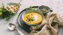 Pumpkin Soup In A Bowl Garnish...
