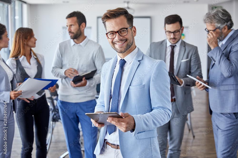 Fototapeta businessman office portrait corporate meeting tablet