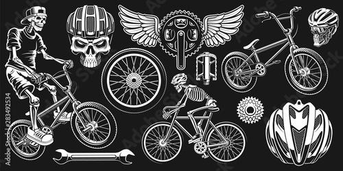 Obraz na płótnie Cyclist clip art on the dark background.