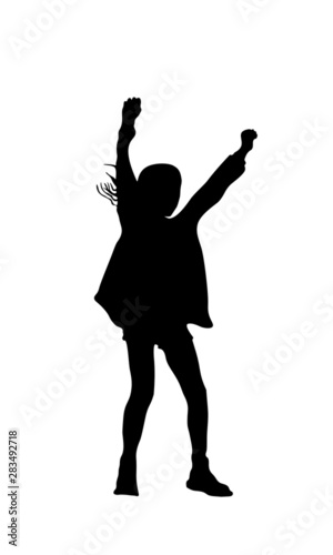 Fotografija Silhouette of Young Girl Raising Her Arms in Joy