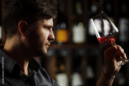 Leinwand Poster  Bokal of red wine on background, male sommelier appreciating drink