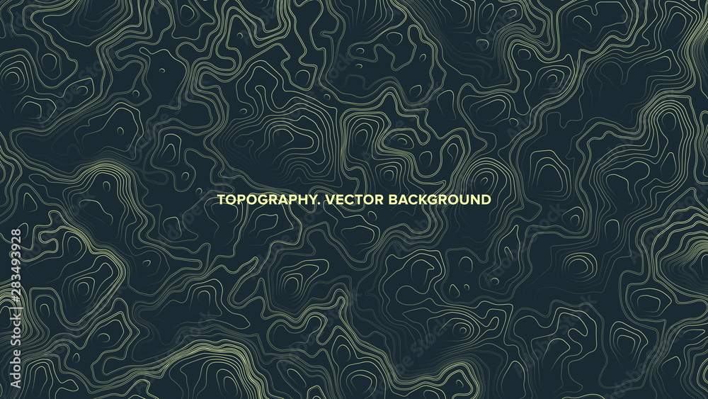 Fototapety, obrazy: Vector Topographic Contour Map Relief. Psychedelic Abstract Background. Conceptual Technologic Line Art Green Wallpaper