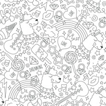 Coloring Page. Cute Llama Pattern On A White Background. Fashion Illustration Drawing In Modern Style For Clothes. Black And White Abstract Outline Seamless Pattern.