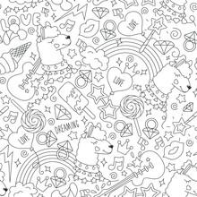 Coloring Page. Cute Llama Patt...