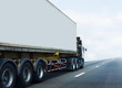 White Truck on highway road with container, transportation concept.,import,export logistic industrial Transporting Land transport on the asphalt expressway