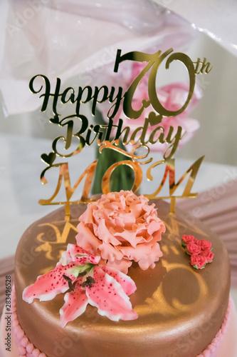 Phenomenal Happy 70Th Birthday Mom In Rose Gold On Birthday Cake With Shoe Funny Birthday Cards Online Kookostrdamsfinfo