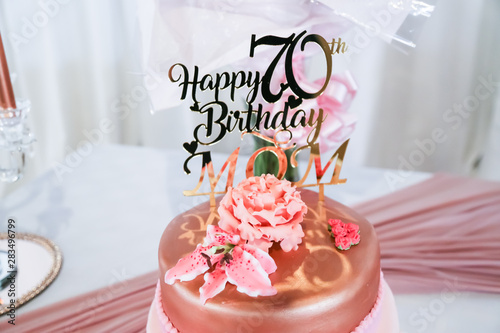 Admirable Happy 70Th Birthday Mom In Rose Gold On Birthday Cake With Shoe Funny Birthday Cards Online Kookostrdamsfinfo