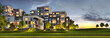Leinwanddruck Bild - Scenic night view of modern architecture of residential buildings