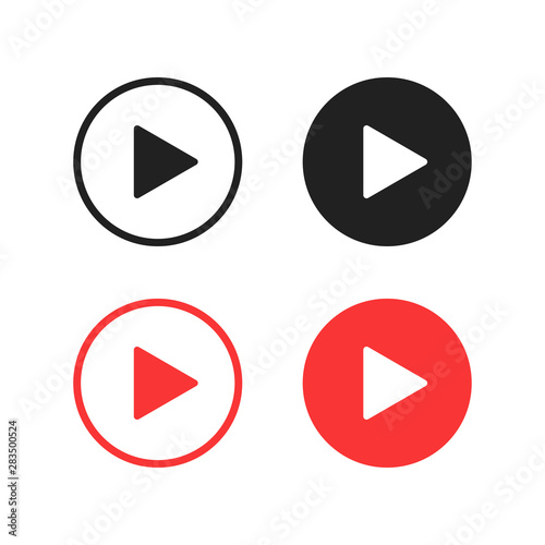 Vector isolated play buttons or icon. Multimedia signs. Play music buttons in black and red colors. Wall mural