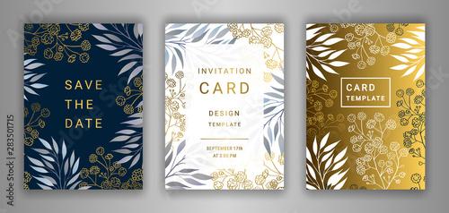 Wedding Invitation Card Template Eps 10 Vector Set Elegant