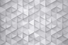 3D Render Science Technology Triangular Pattern White Abstract Background. Three Dimensional Tech Triangle Structure Ultra High Quality Wallpaper