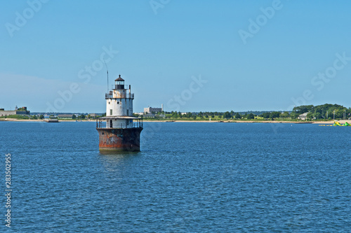 Photo The decommissioned Butler's Flat Light Station in the approach to the port of New Bedford