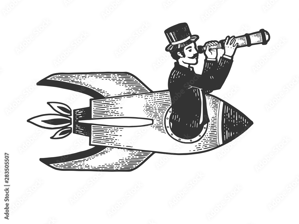 Fototapeta Old fashioned gentleman flies in rocket and looks through telescope sketch engraving vector illustration. Scratch board style imitation. Black and white hand drawn image.