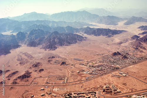 Aluminium Prints Salmon Aerial landscape view of a mountains and desert sand