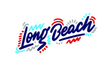 Long Beach Handwritten City Name.Modern Calligraphy Hand Lettering For Printing,background ,logo, For Posters, Invitations, Cards, Etc. Typography Vector.