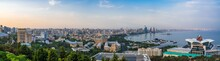 Baku, Azerbaijan August 10, 2019 Ultrawide Panorama Of City